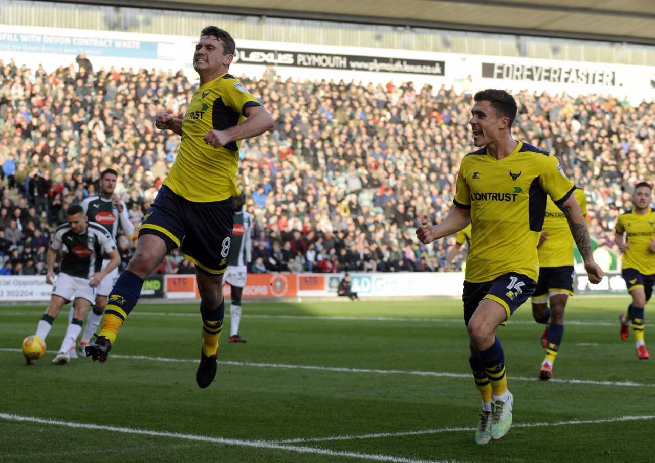 Ryan Ledson celebrates putting Oxford United in front from the penalty spot  Pictures: David Fleming