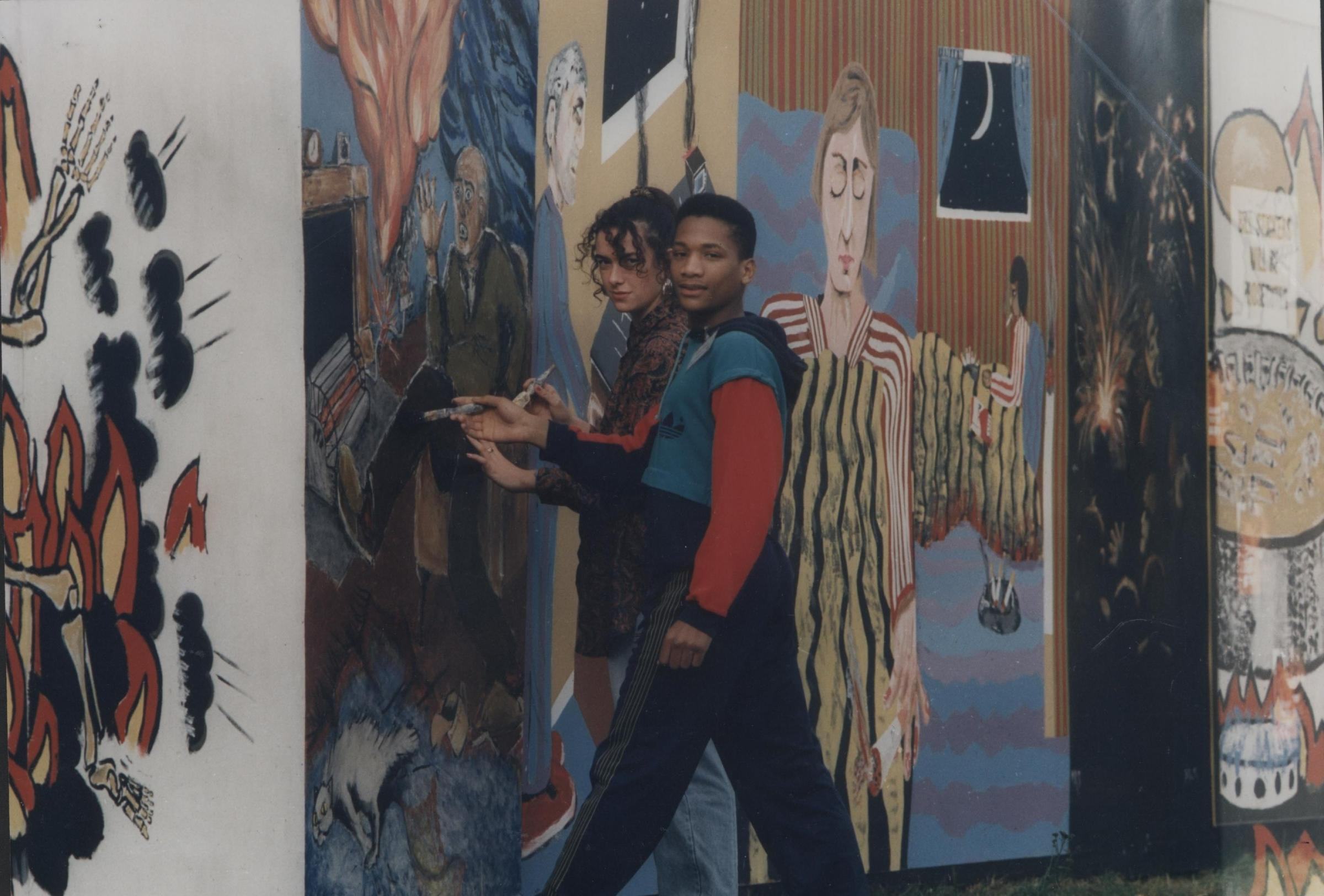 Lucy Thacker and Wayne Sinclair from Afro-Caribbean Art group in 1989