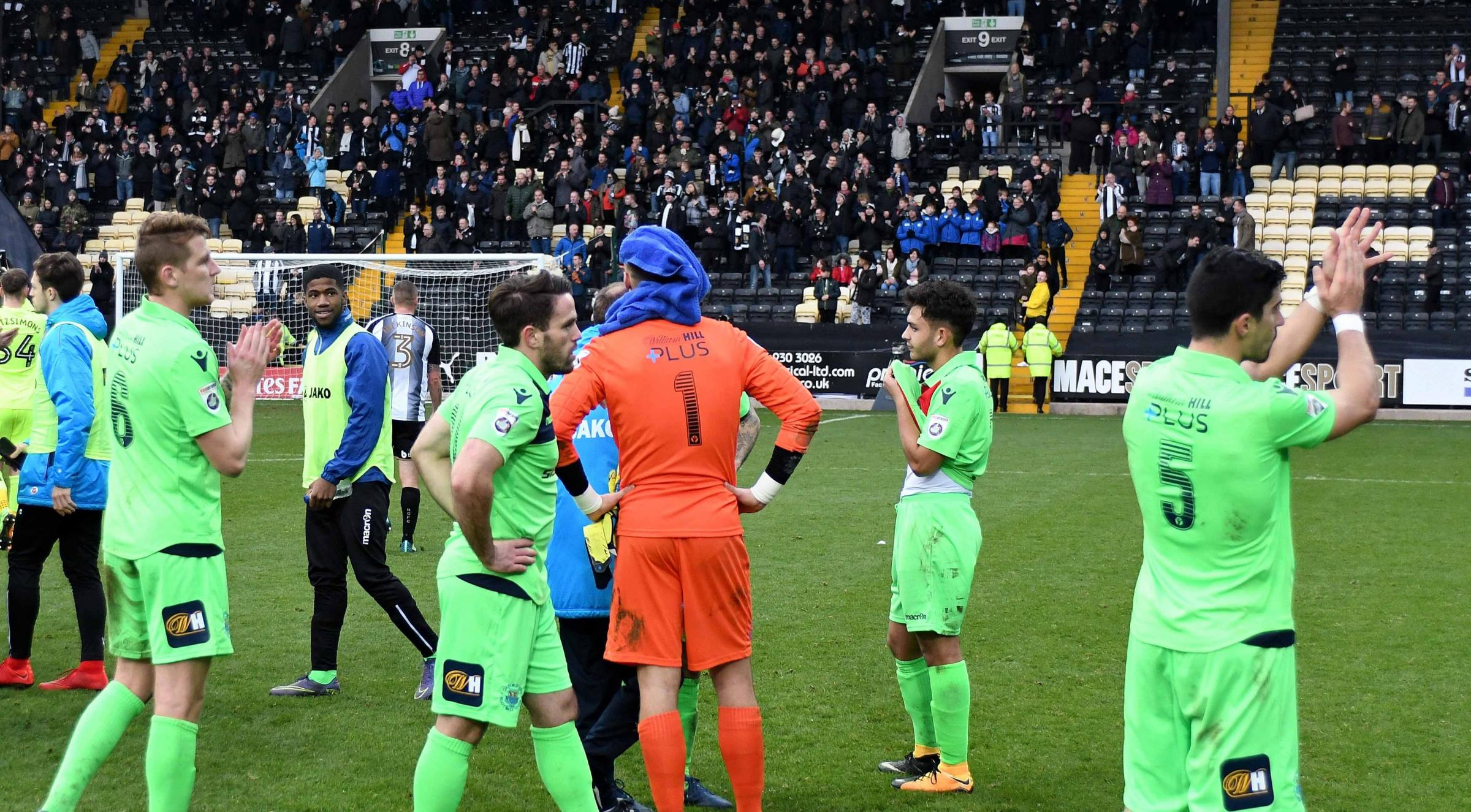 AGONY: Oxford City's players thank the fans at the end of the gamePicture: Mike Allen