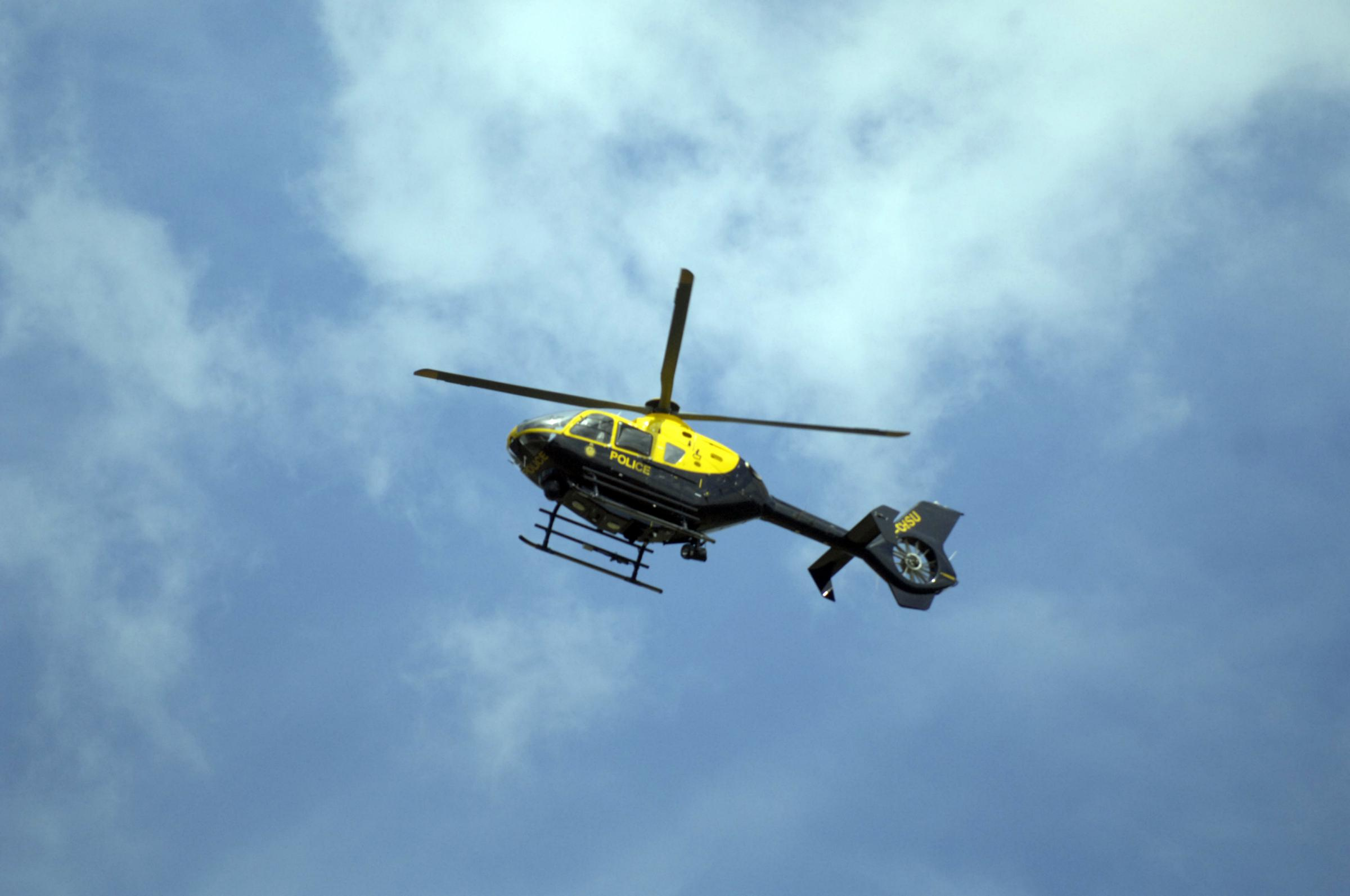Police helicopter searching for injured driver who left crash scene