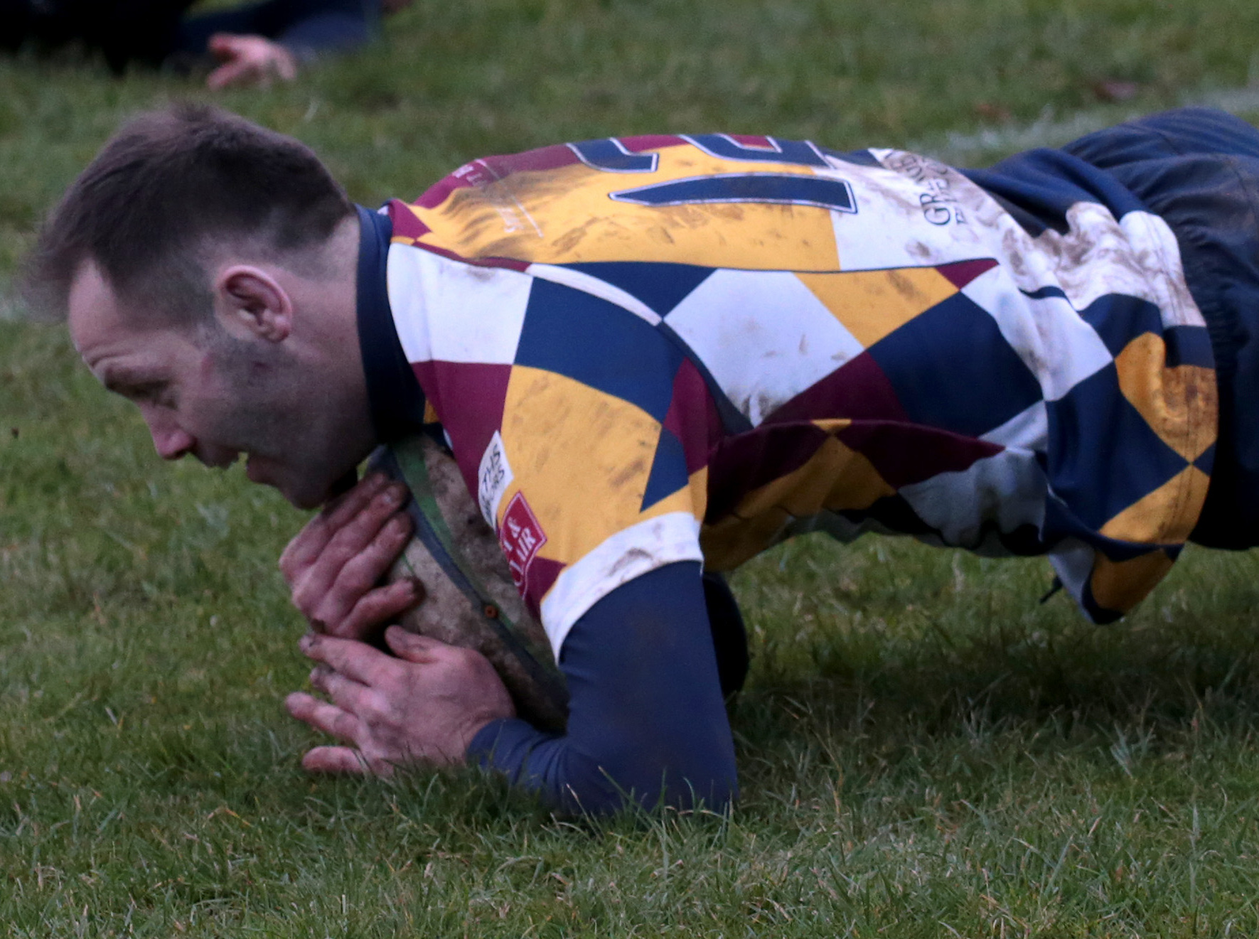 Martin Nutt is delighted to score during Oxford Harlequins comfortable home win against Old Centralians Picture: Ric Mellis