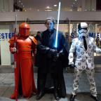 Oxford Mail: Fans John Baker, left, Benjamin Priddle and Matthew Johnston leave a screening of Star Wars: The Last Jedi at Leicester Square in London.