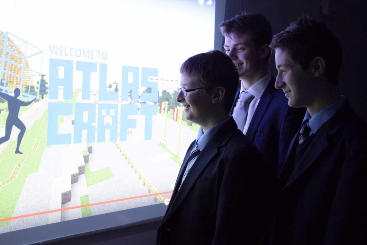 Abingdon School pupils looking at their creation. L to R, Charlie Franklin, 15, Joe O'Shea, 17, and Freddie Nicholson, 15.Pic by Jon Lewis.