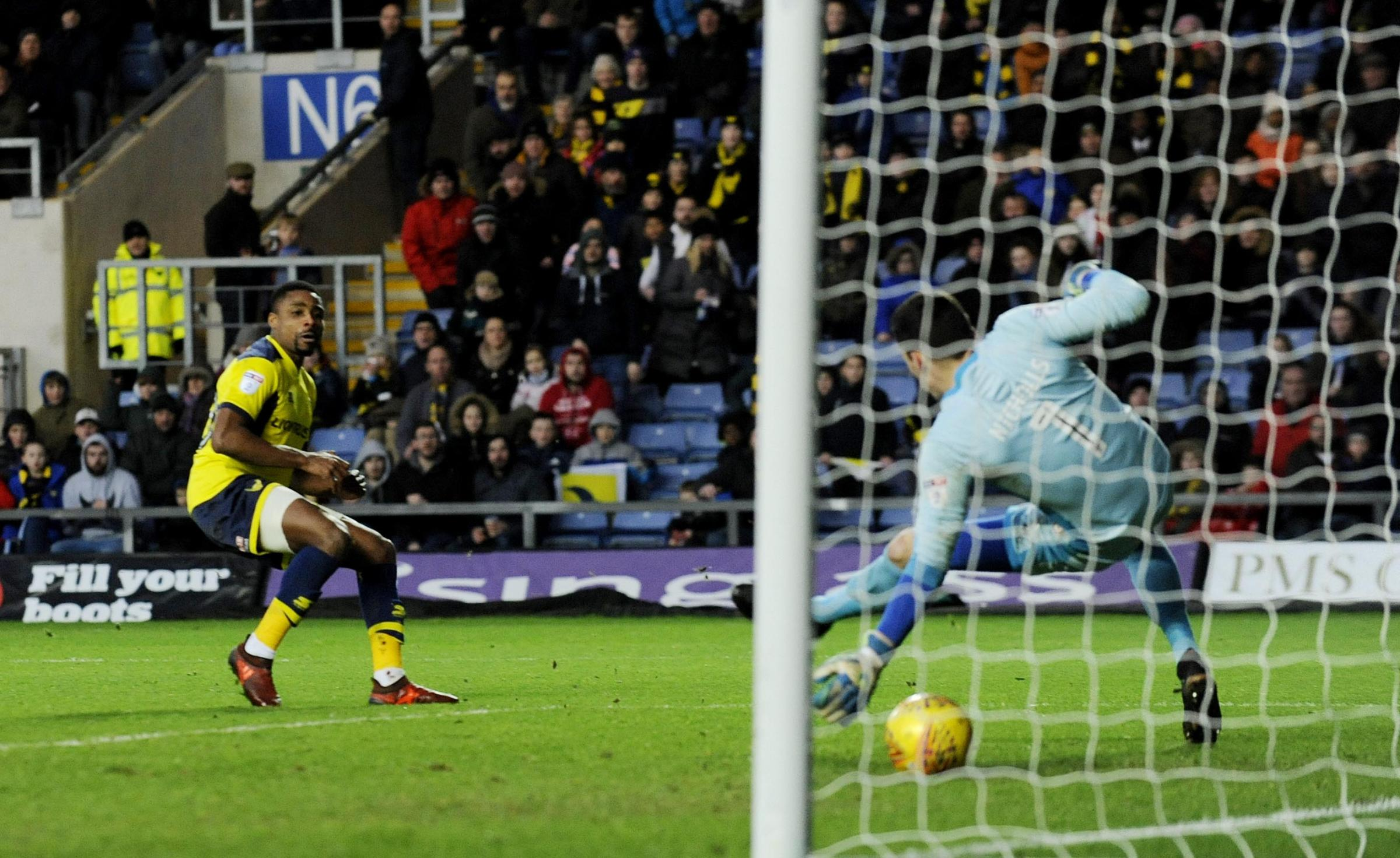 Jon Obika makes it 3-1 to Oxford United  Picture: David Fleming