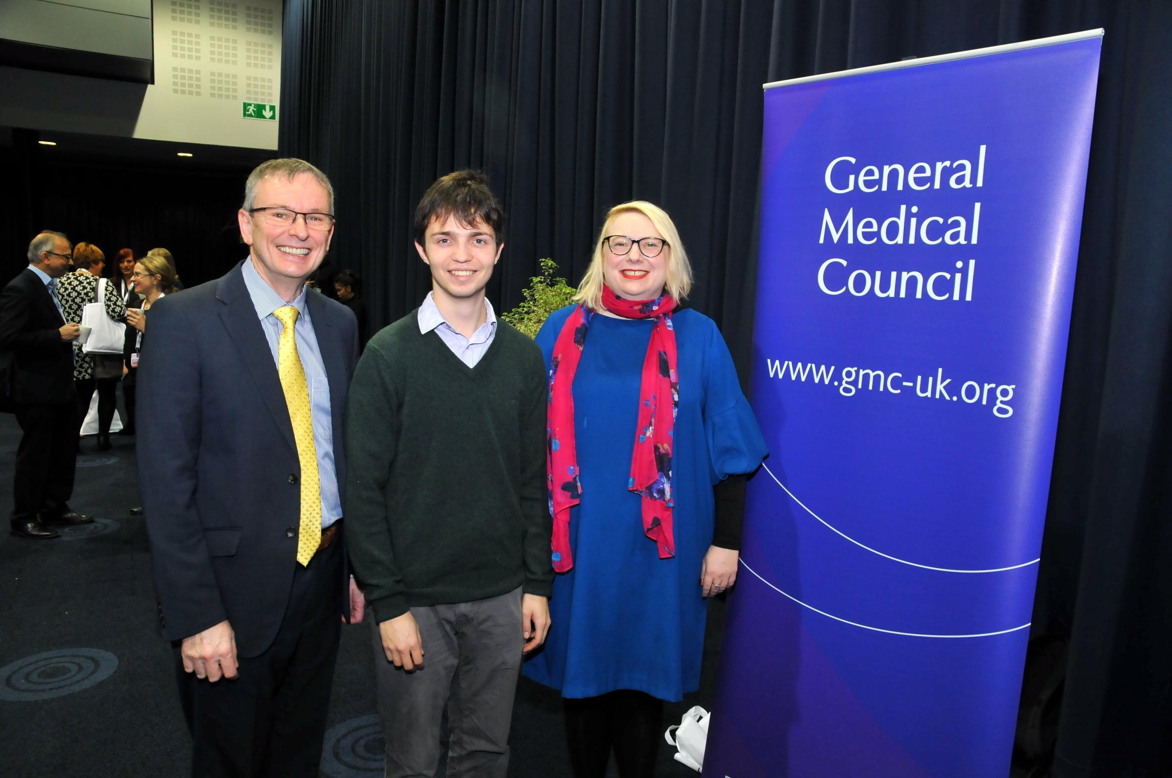 From left, Dr Colin Melville, the General Medical Council's Director of Education and Standards, Charles Pope and Clare Owen, Policy Adviser at Medical Schools Council.