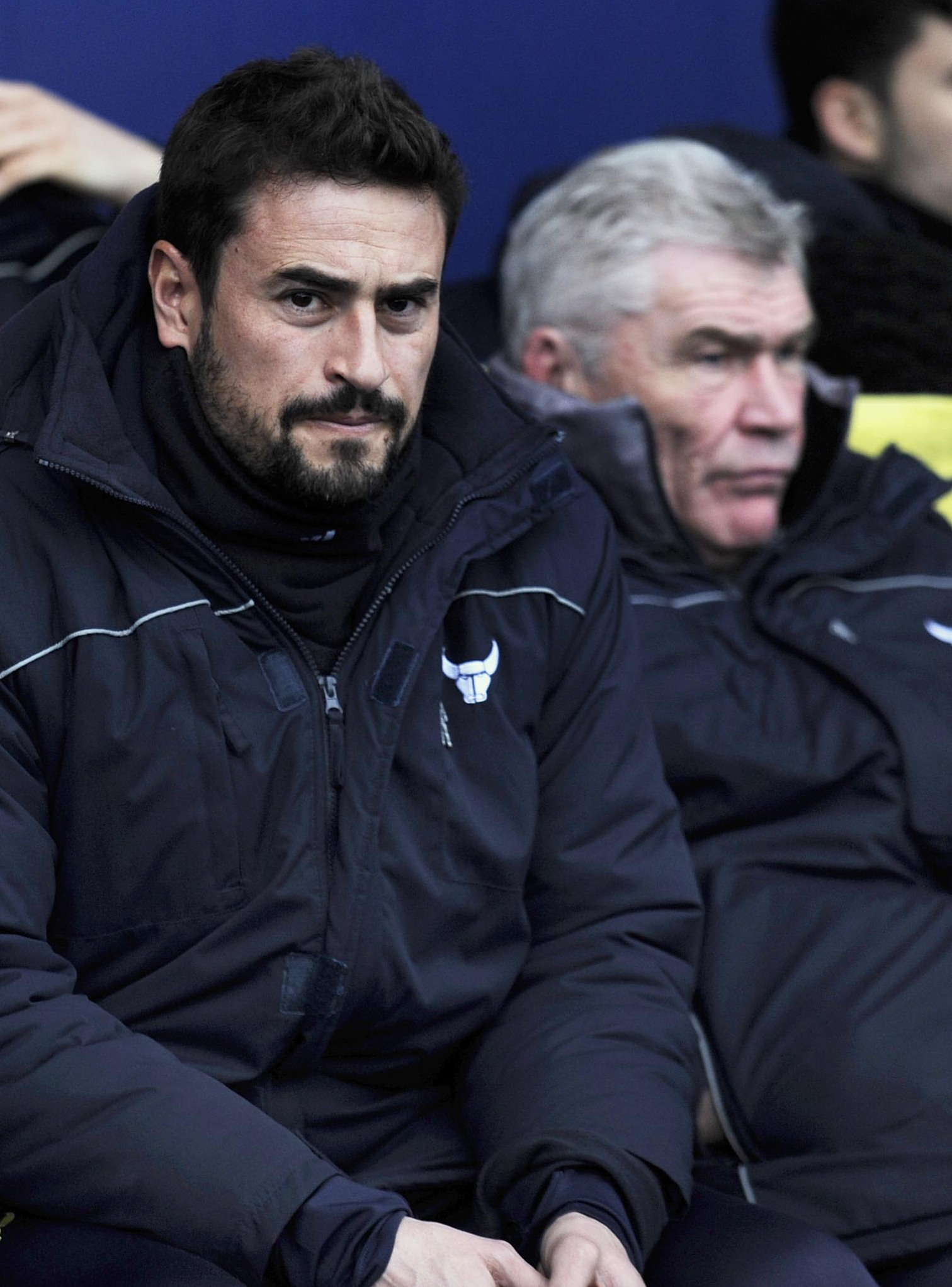 SIDE BY SIDE: Pep Clotet sits next to his assistant Derek Fazackerley during their 2-1 defeat at home to Bury on Saturday, which signalled the end of the Spaniard's time as Oxford United's boss                                 Picture: David Fleming