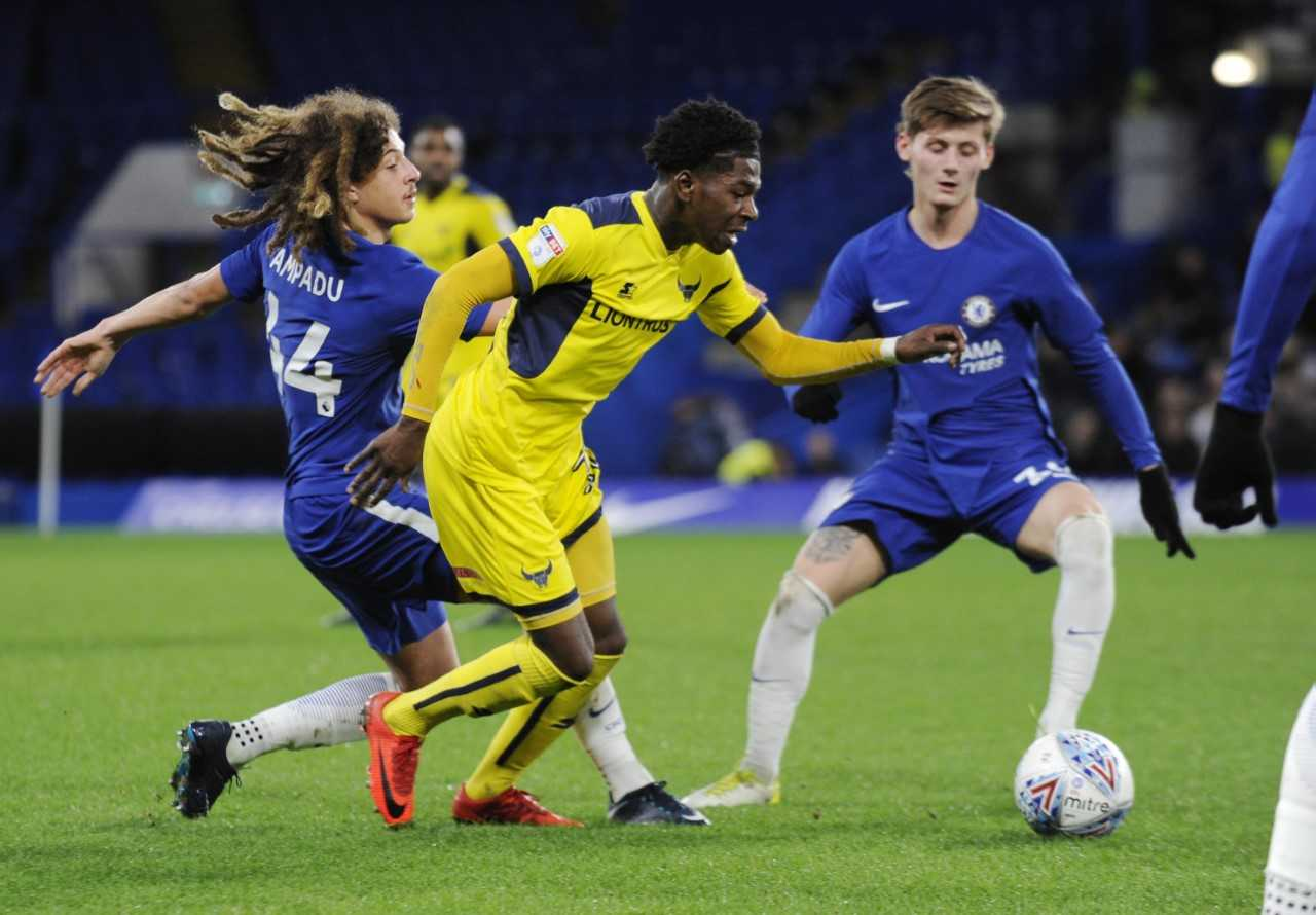 Isaac Buckley-Ricketts hit the woodwork for Oxford United at Stamford Bridge  Picture: David Fleming