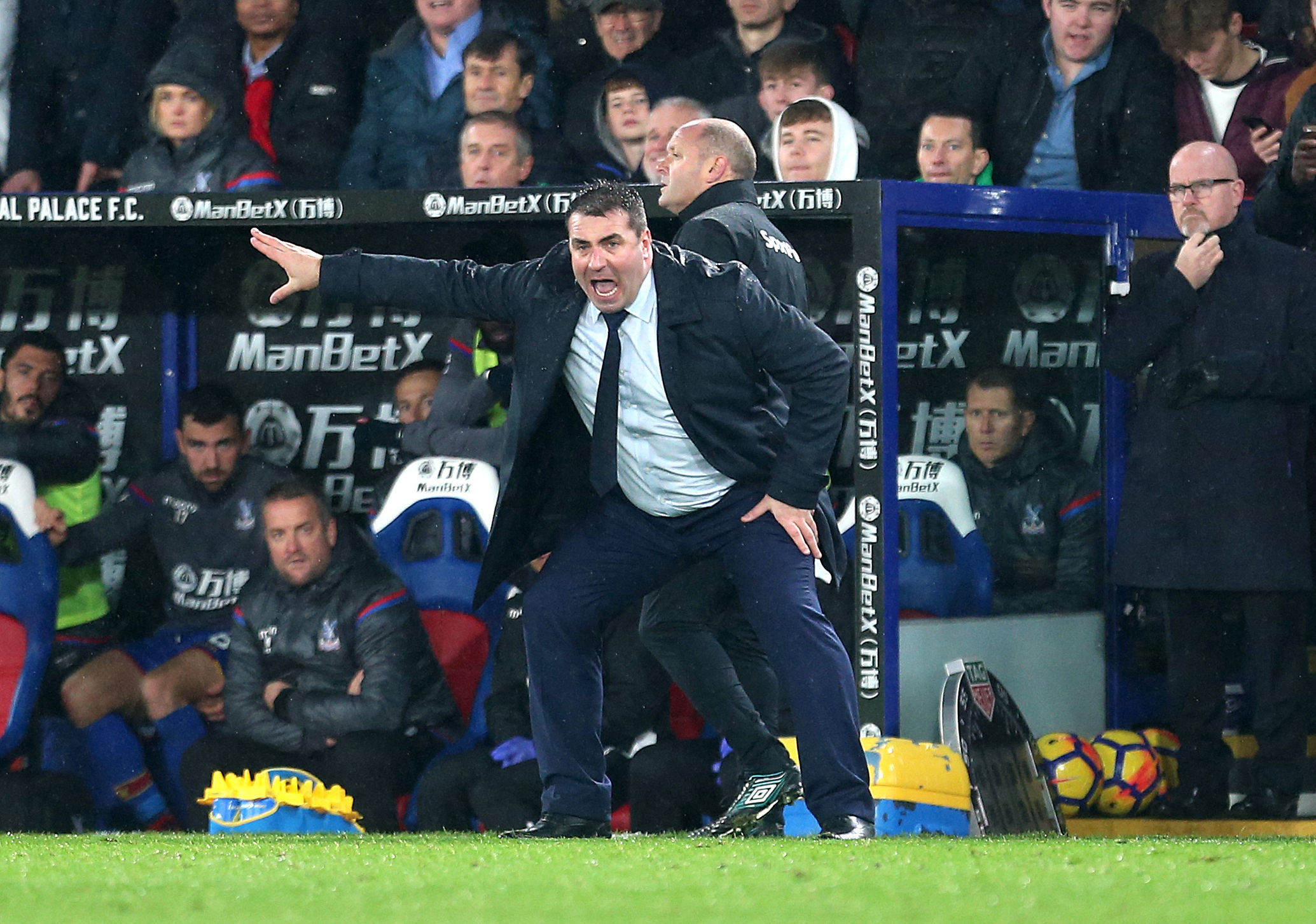 David Unsworth urges Everton on at Crystal Palace in November during his caretaker spell in charge Picture: Steven Paston/PA Wire
