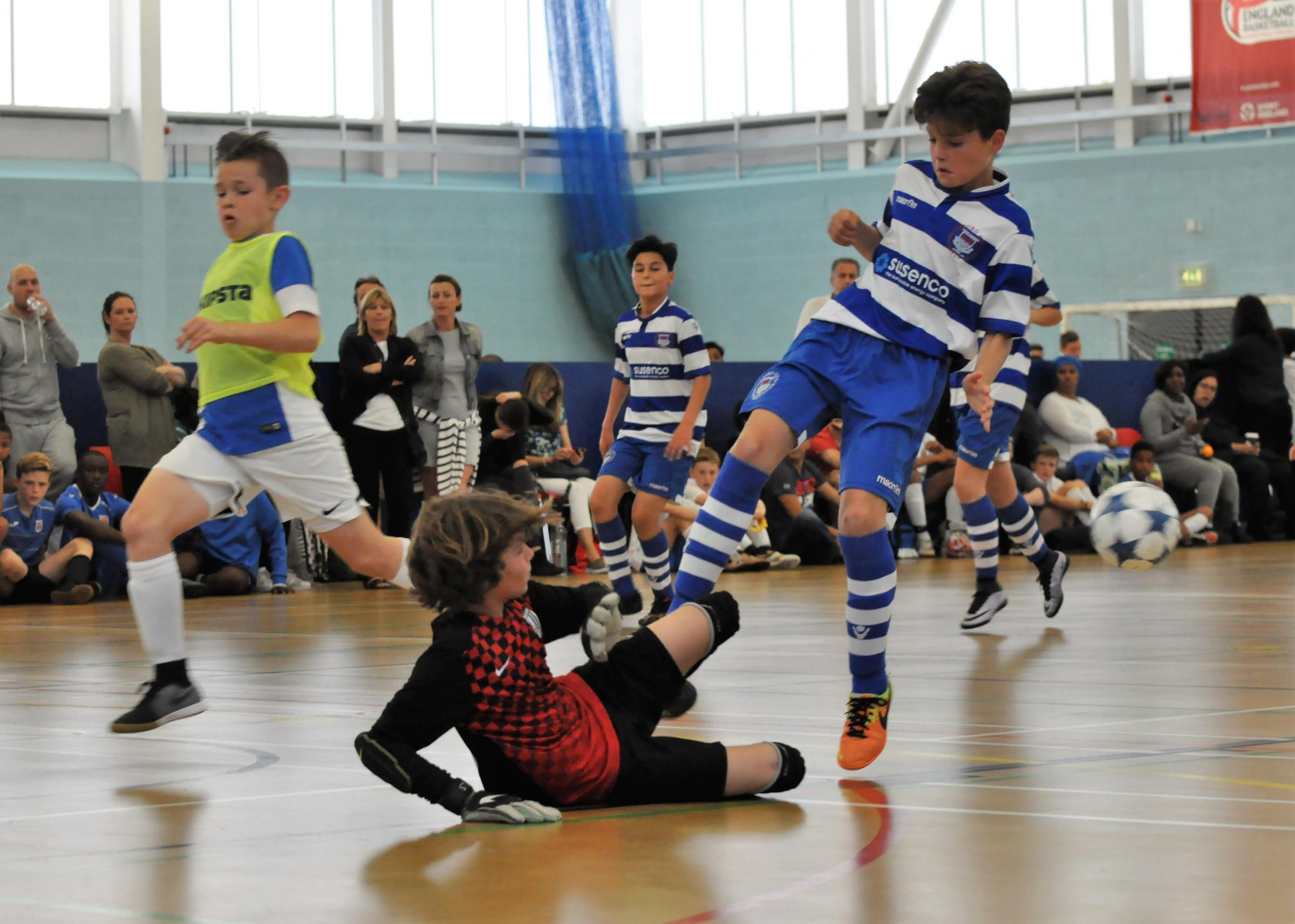 TALENT: Oxford City Lions' Freddie Kennedy has a shot saved against Ole. The club have won domestic and international trophies, but play at Faringdon Leisure Centre – a venue which is not specifically designed for futsal