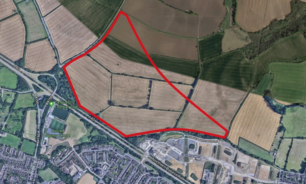 The land on Oxford Northern By-pass where Christ Chuch college hopes to build 750 homes. Picture: Google Maps