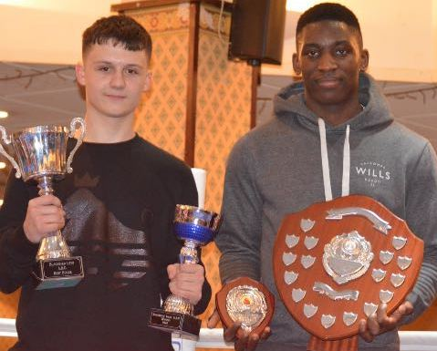 PRIZEWINNERS: Blackbird Leys' (from left) Kieran Clarke and Joshua Olawole with their respective awards as junior and senior boxers of the day