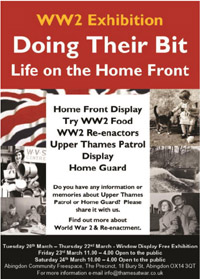 Doing their Bit, Life on the Home Front, Exhibition