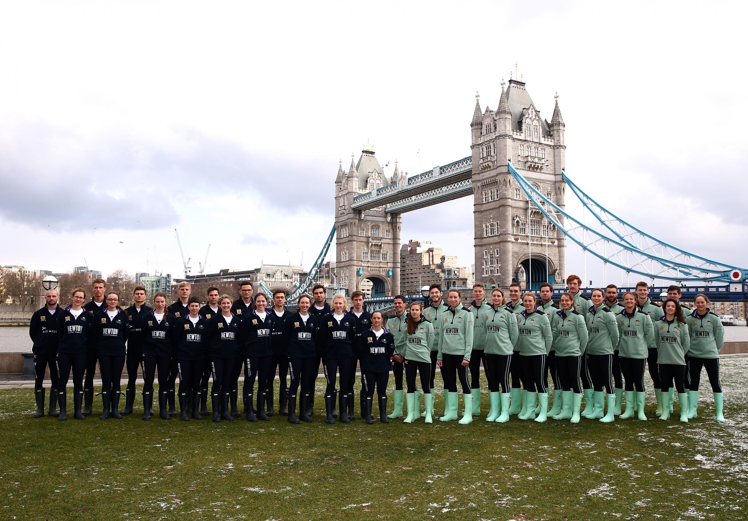 READY FOR ACTION: The Cancer Research UK Boat Race crews line up after the announcement