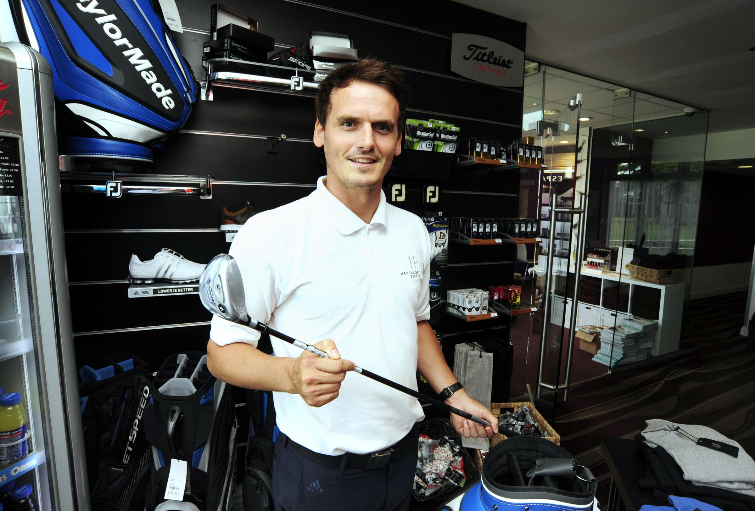 Jamie Cook in the pro's shop at Heythrop Park Golf Club Picture: David Fleming