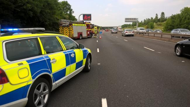 Police respond to the scene of an overturned car on the M40 near Bicester in 2016 Pic: TVP