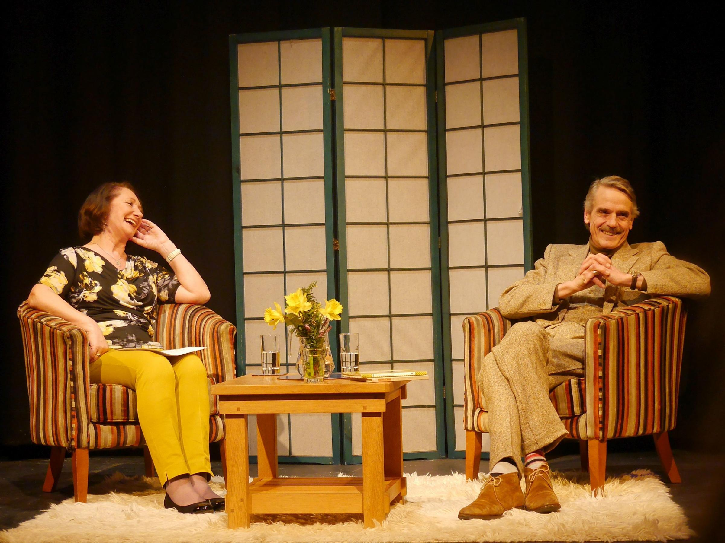 Jeremy Irons at Wallingford's Corn Exchange on March 12, 2018, with Gloria Wright of the Sinodun Players. Picture: Graham Diacon