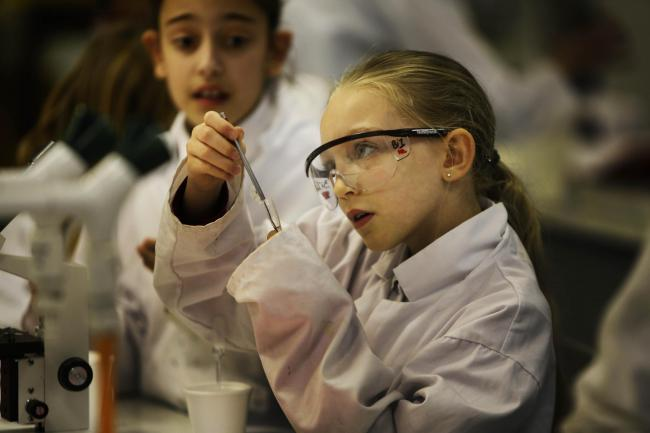Lexie Way, nine, from St Nicholas Primary School, Marston, was among pupils taking part in an experiment at Oxford High School. Picture Ed Nix Ed Nix