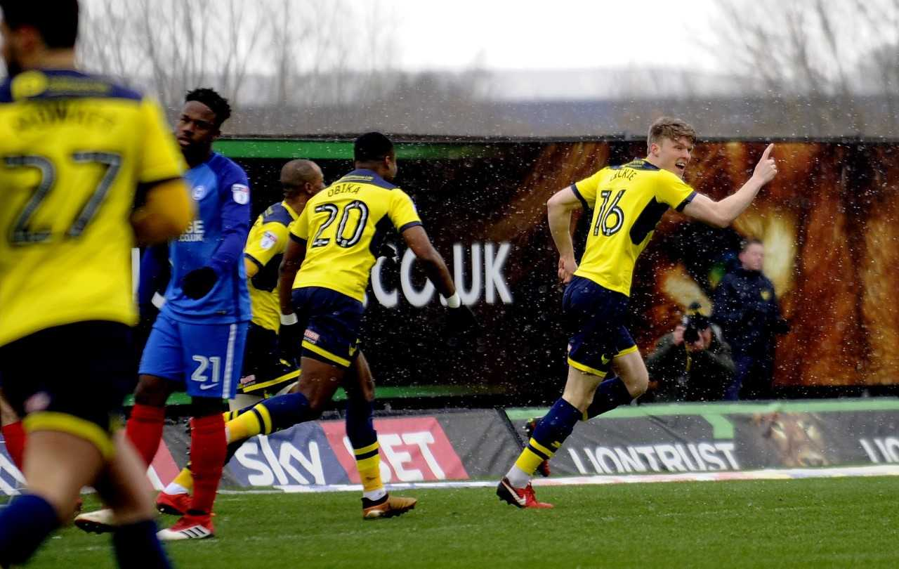 Rob Dickie celebrates opening the scoring for Oxford United  Picture: David Fleming