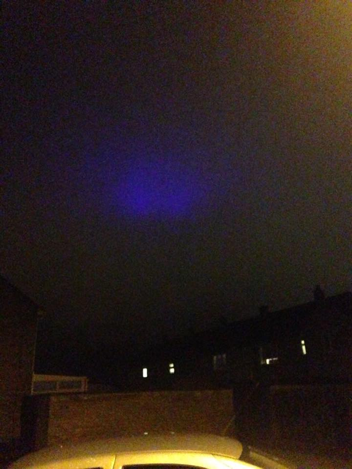 What was the 'strange blue glow' spotted moving across the sky last night?