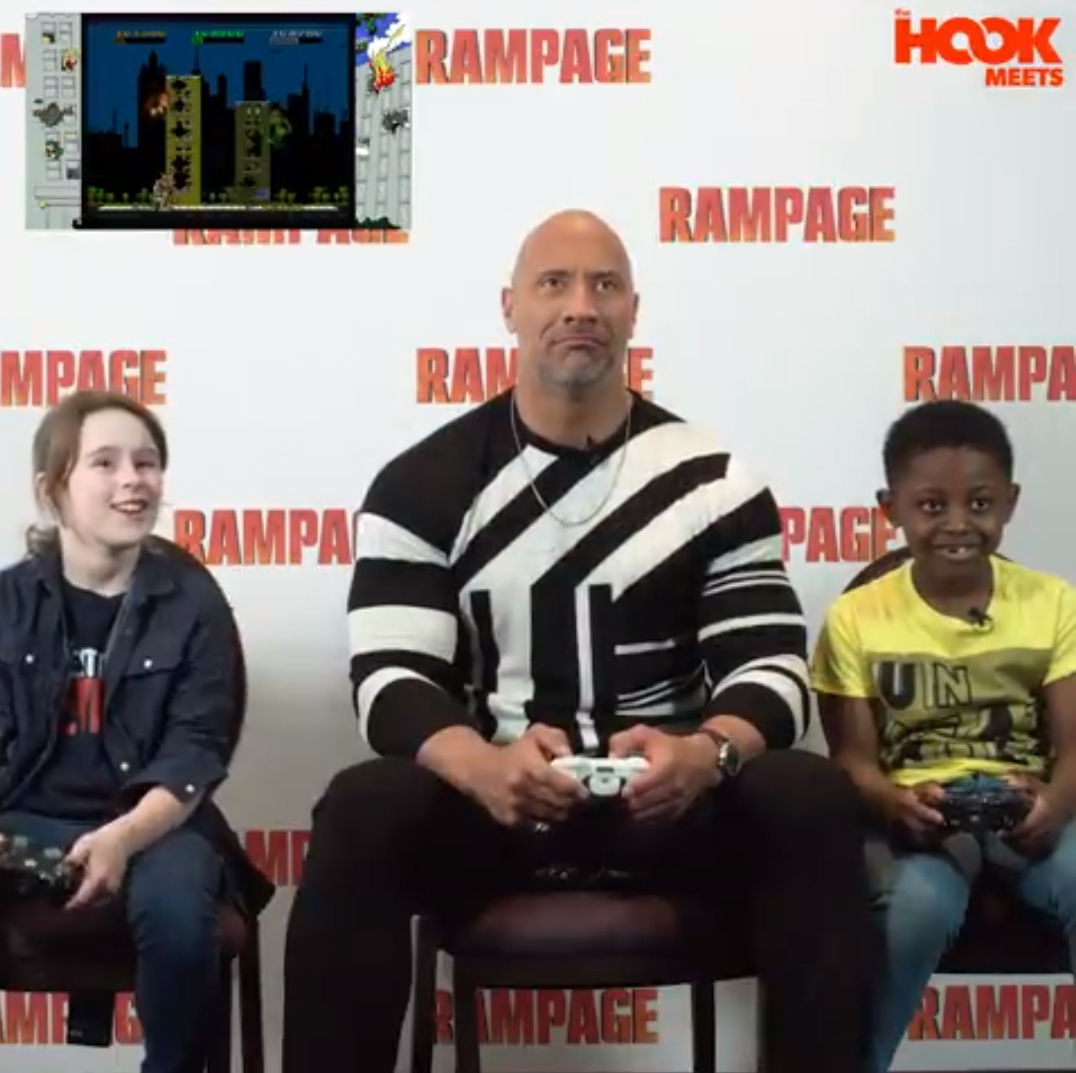 Chloe Streeter plays Rampage with Dwayne 'The Rock' Johnson and Tevon Obih. Pic supplied by The Hook