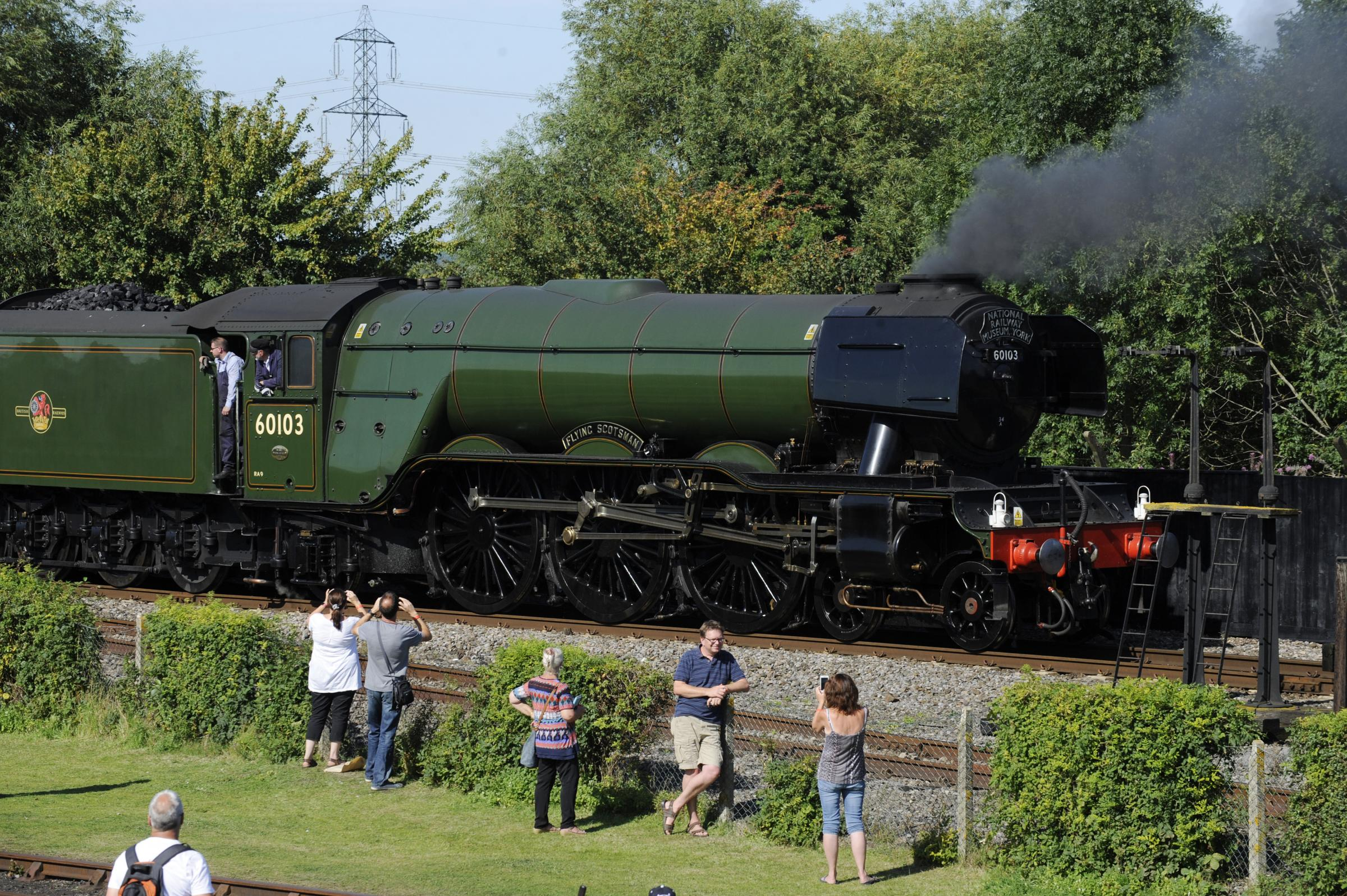 The Flying Scotsman at the didcot Railway Centre..Crowds flock to the centre to see the iconic locomotive..