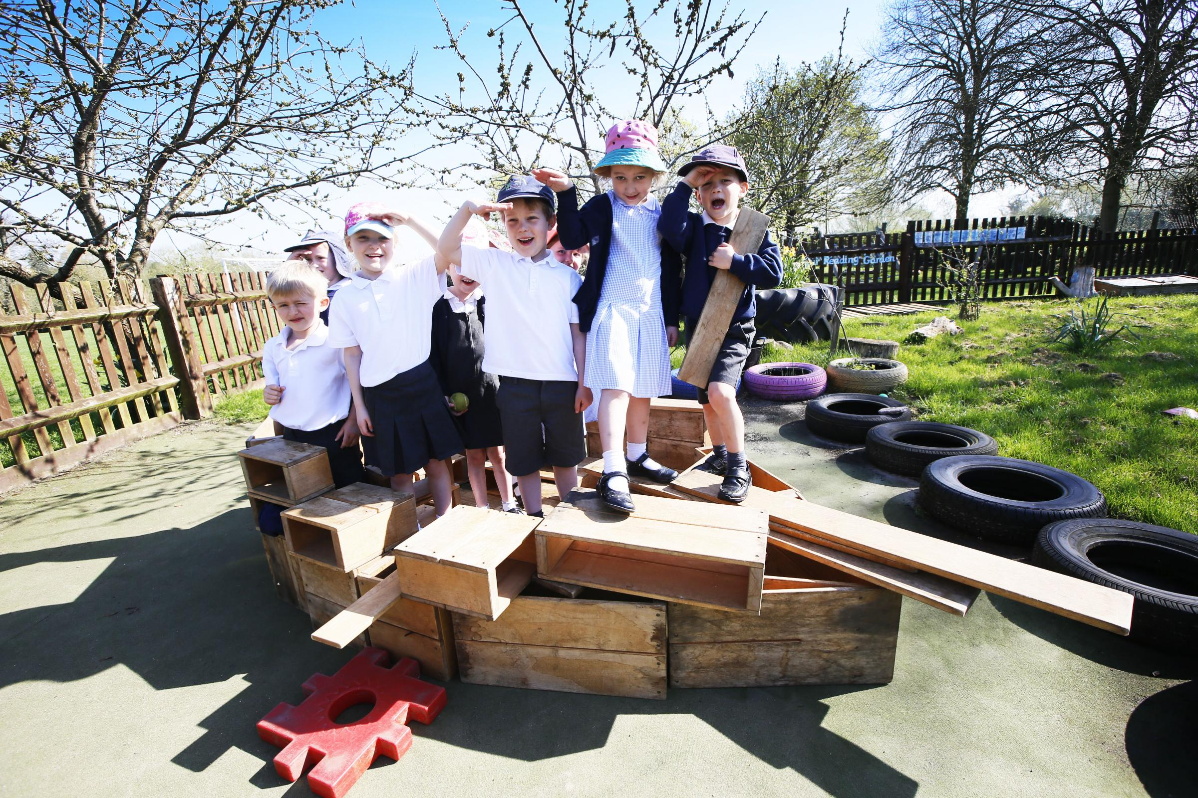 AHOY: Pupils from Maple class on their 'pirate ship' 								         All pictures taken by Ed Nix