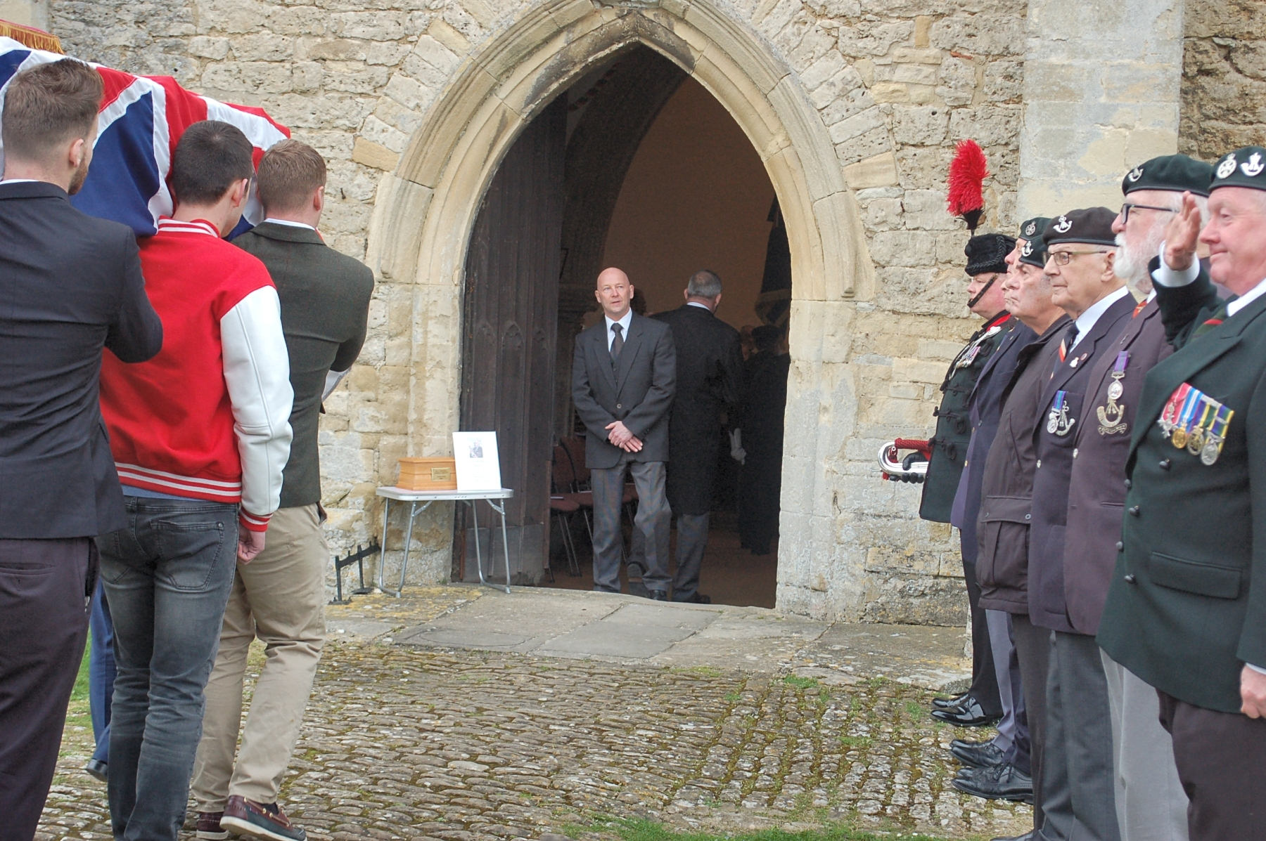 Veterans form a Guard of Honour at the funeral of D-Day hero Vernon Jones. Pic supplied by Terry Roper
