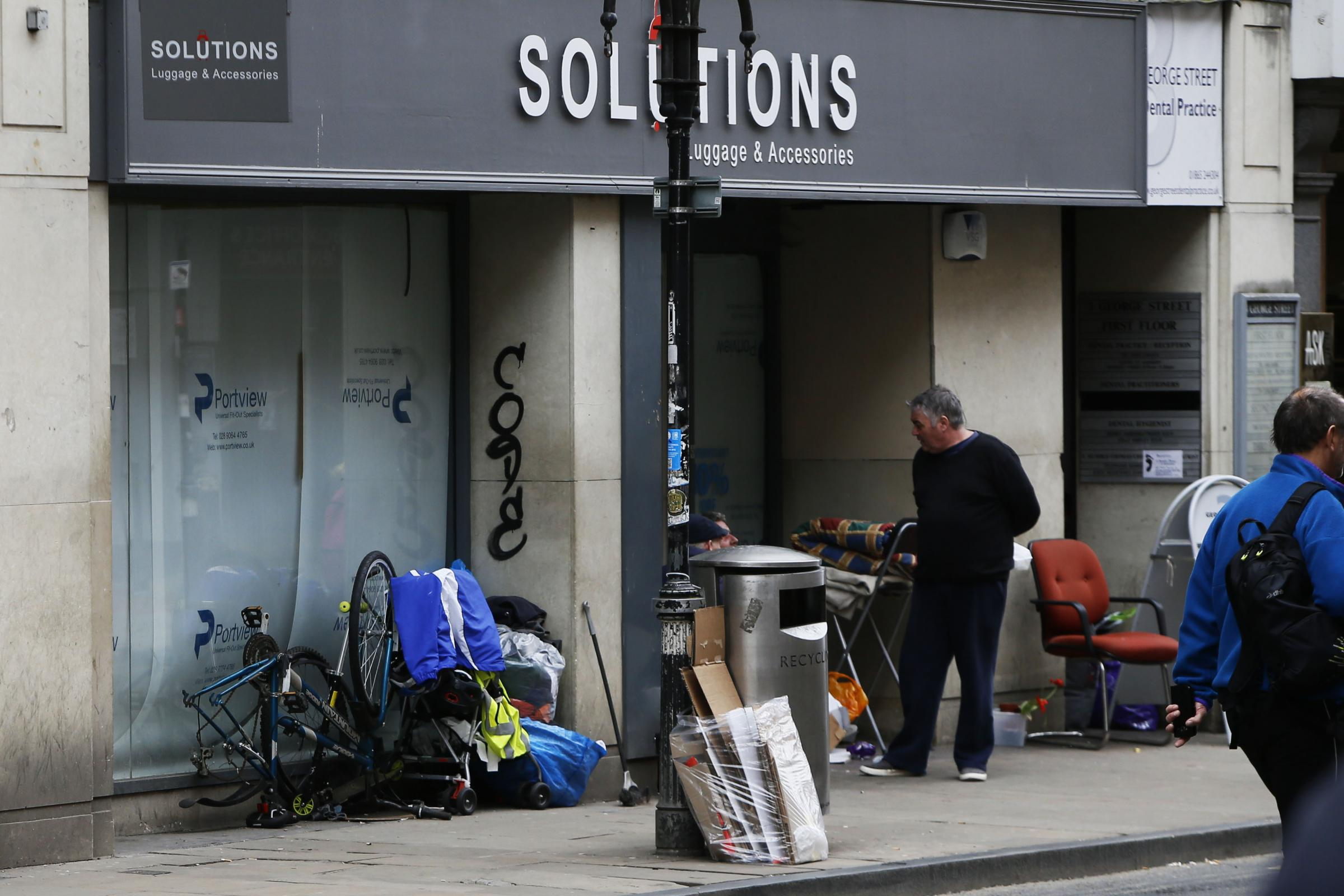 Rough sleepers have been using the doorway of the former Solutions store in George Street  in Oxford as a place to gather and sleep.