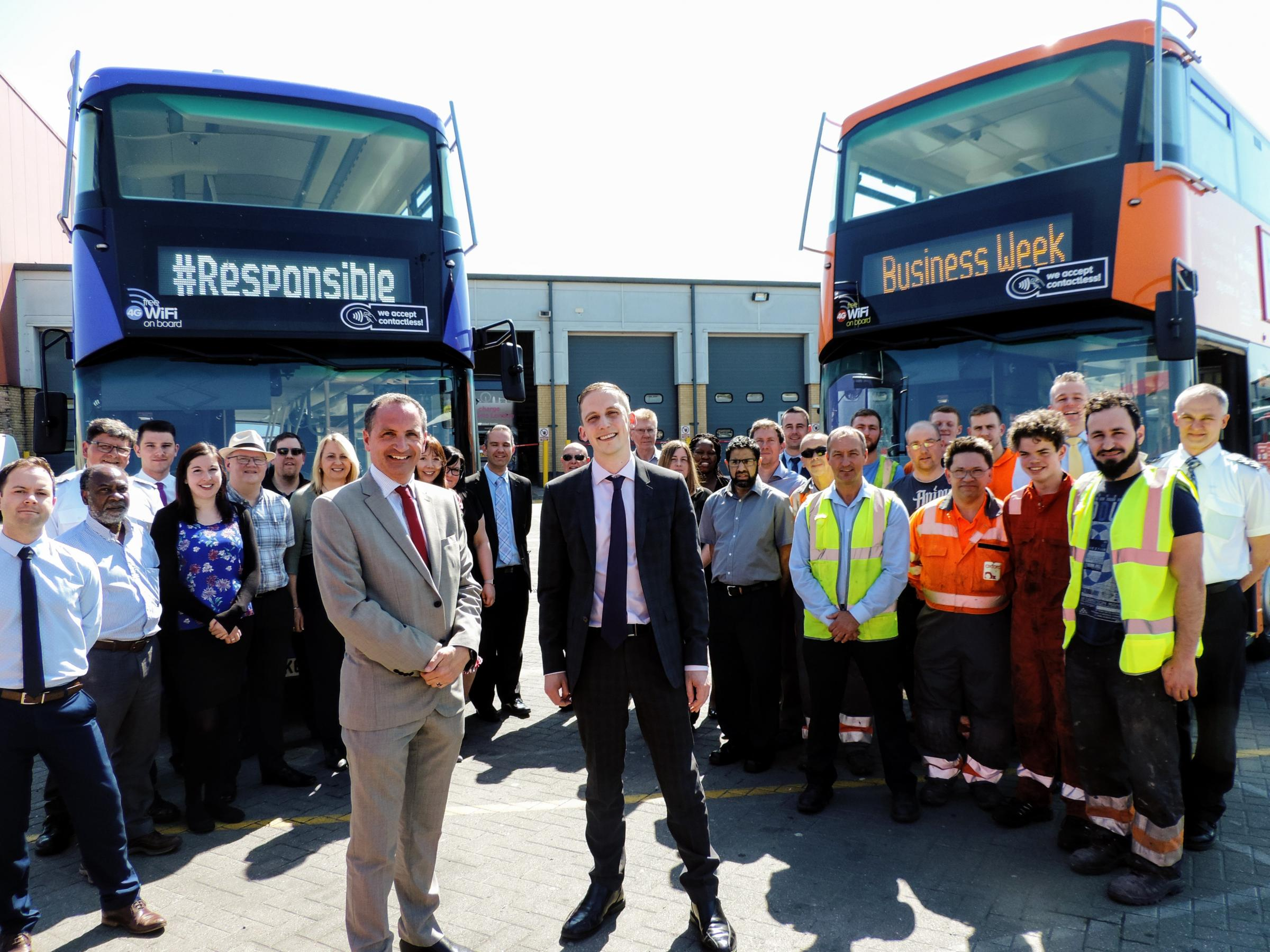 Oxford Bus Company managing director Phil Southall, left, with finance director Luke Marion and other staff. Pic Greig Box Turnbull