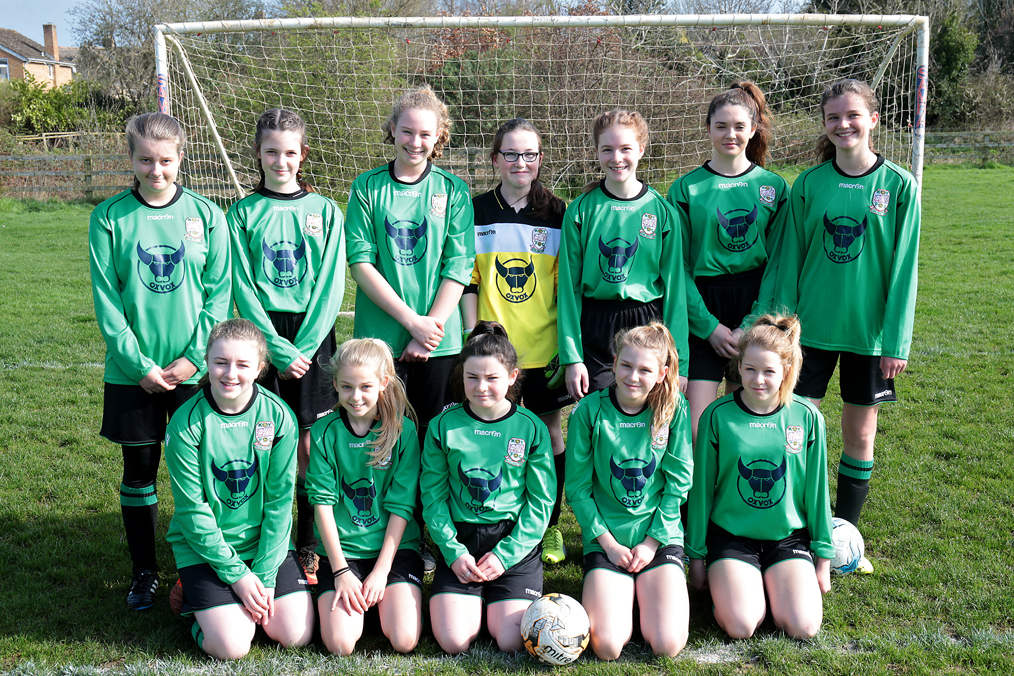 GOING THROUGH: Kidlington defeated Wantage 3-0 on penalties in the Under 13 League Cup. Back (from left): Jess Auat, Fiona Baker, Taylor Jenkins, Lea Hague, Rebecca Pegden, Ellie Walker, Anna Hipkiss. Front: Molly Poulter, Faith Toan, Millie McKenzie-Witt