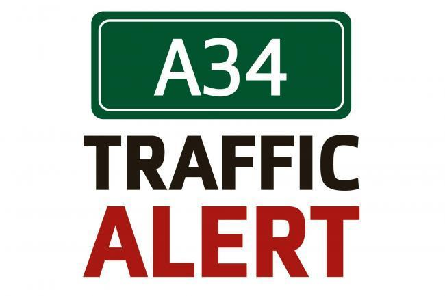 Lanes blocked on A34 following crash