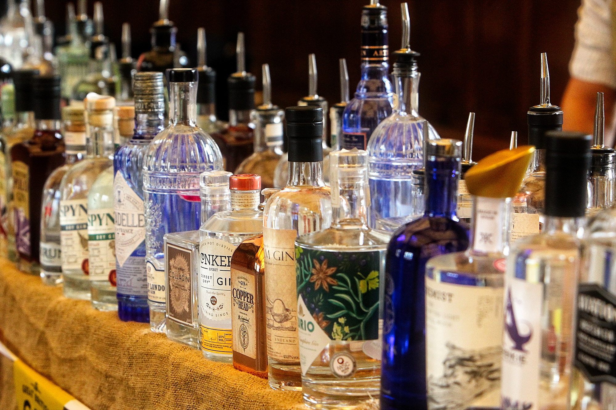 Some of the hundreds of samples on offer as enthusiasts crowded into the University Examinations Schools for the Great British Gin Festival Picture: Ric Mellis.25/03/2018.