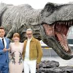 Oxford Mail: Chris Pratt (left), Bryce Dallas Howard and Jeff Goldblum (right) (Ian West/PA)