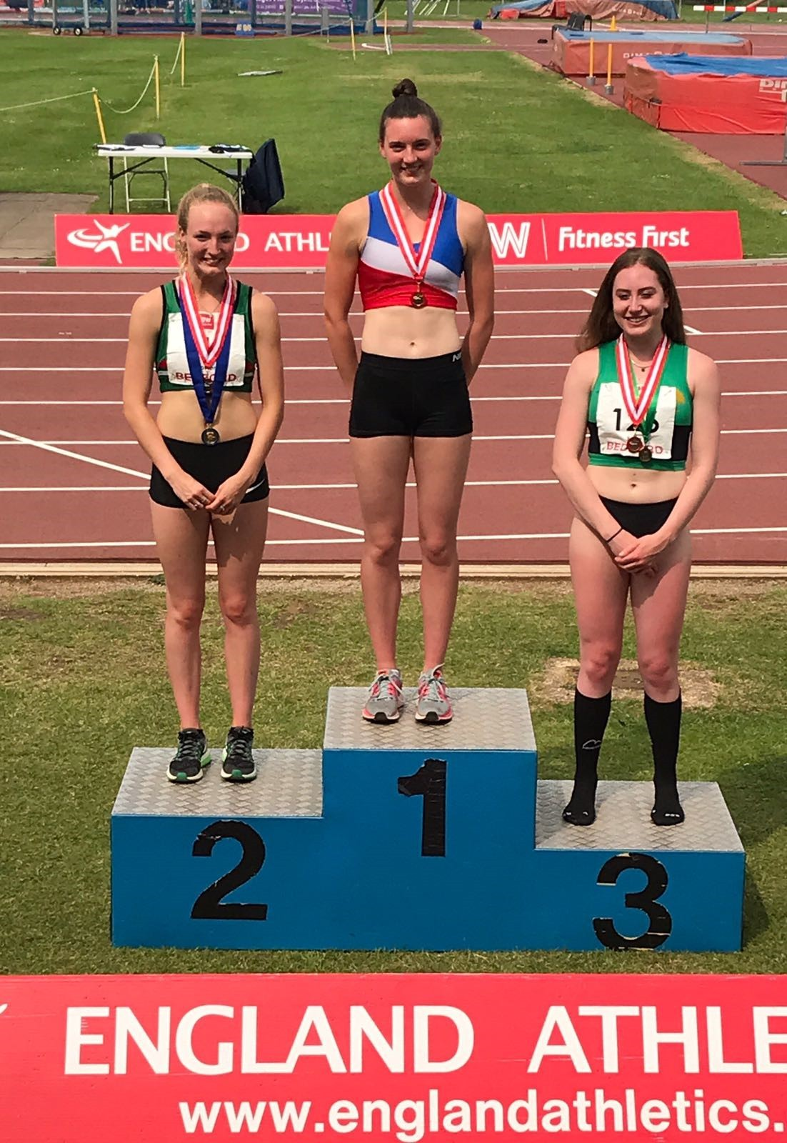 GOLDEN DELIGHT: Oxford City AC's Jade O'Dowda stands on the top step of the podium after winning the heptathlon at the England U20 Combined Events Championships in Bedford