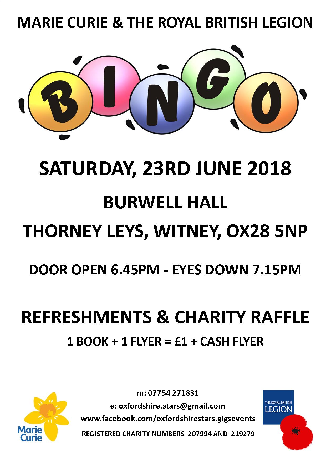 Bingo in aid of Marie Curie and The Royal British Legion