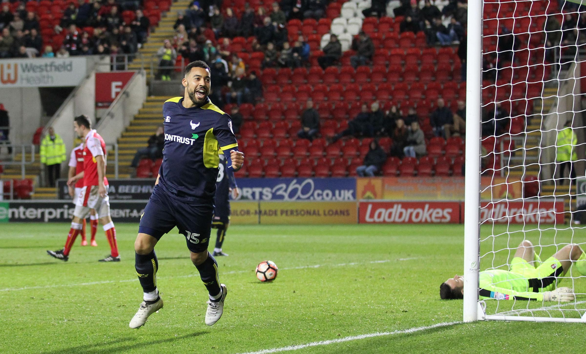 ON TARGET: Kane Hemmings wheels away after scoring for Oxford United in an FA Cup tie at Rotherham in 2017Picture: Richard Parkes