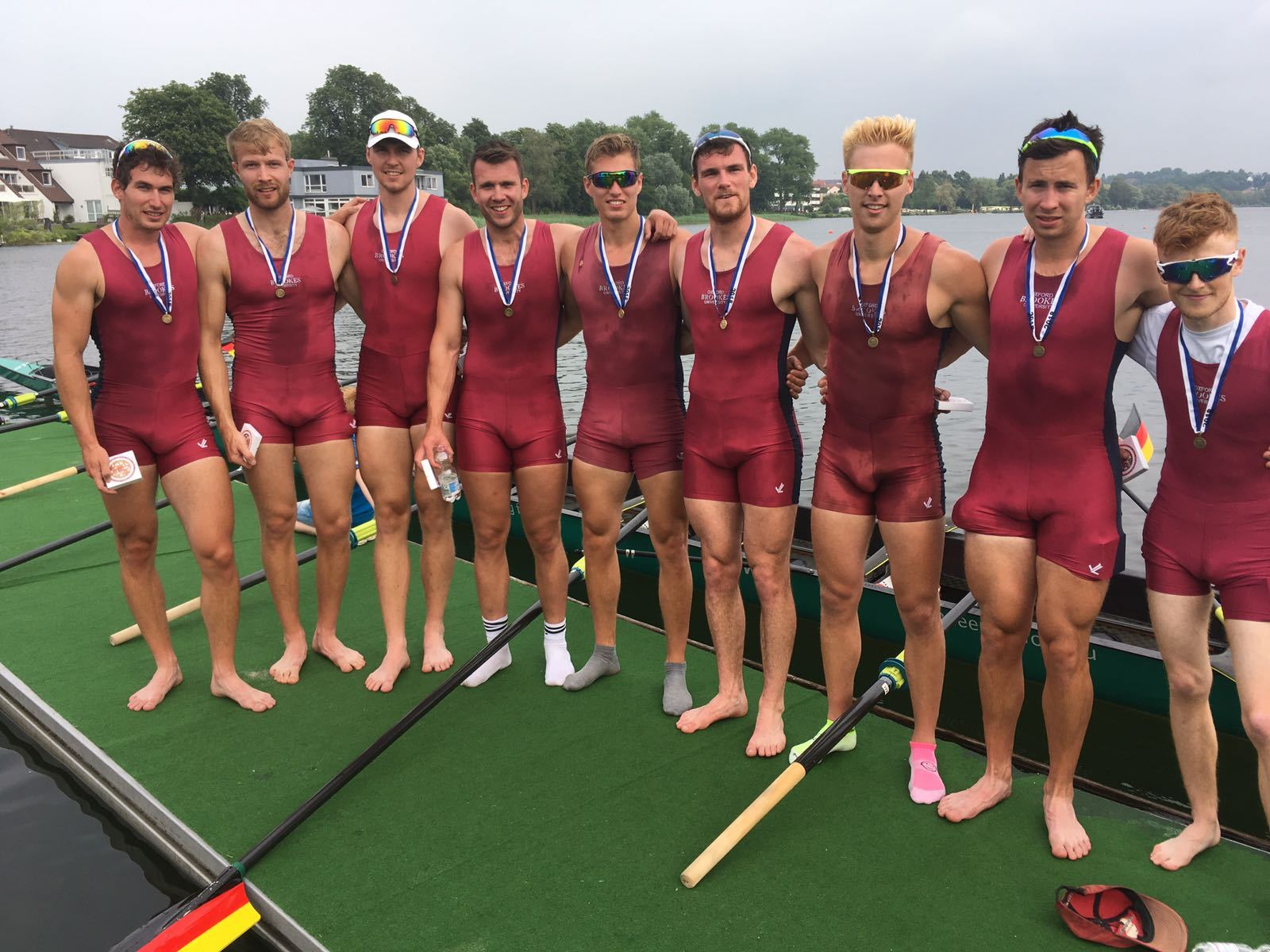 The record-breaking Oxford Brookes eight at Ratzeburg International Regatta. From left: Quentin Antongnielli, Ed Grisdale, Sam Nunn, Matthew Hnatiw, Rory Gibbs, Matthew Aldridge, Henry Swarbrick, Morgan Bolding and Harry Brightmore (cox)