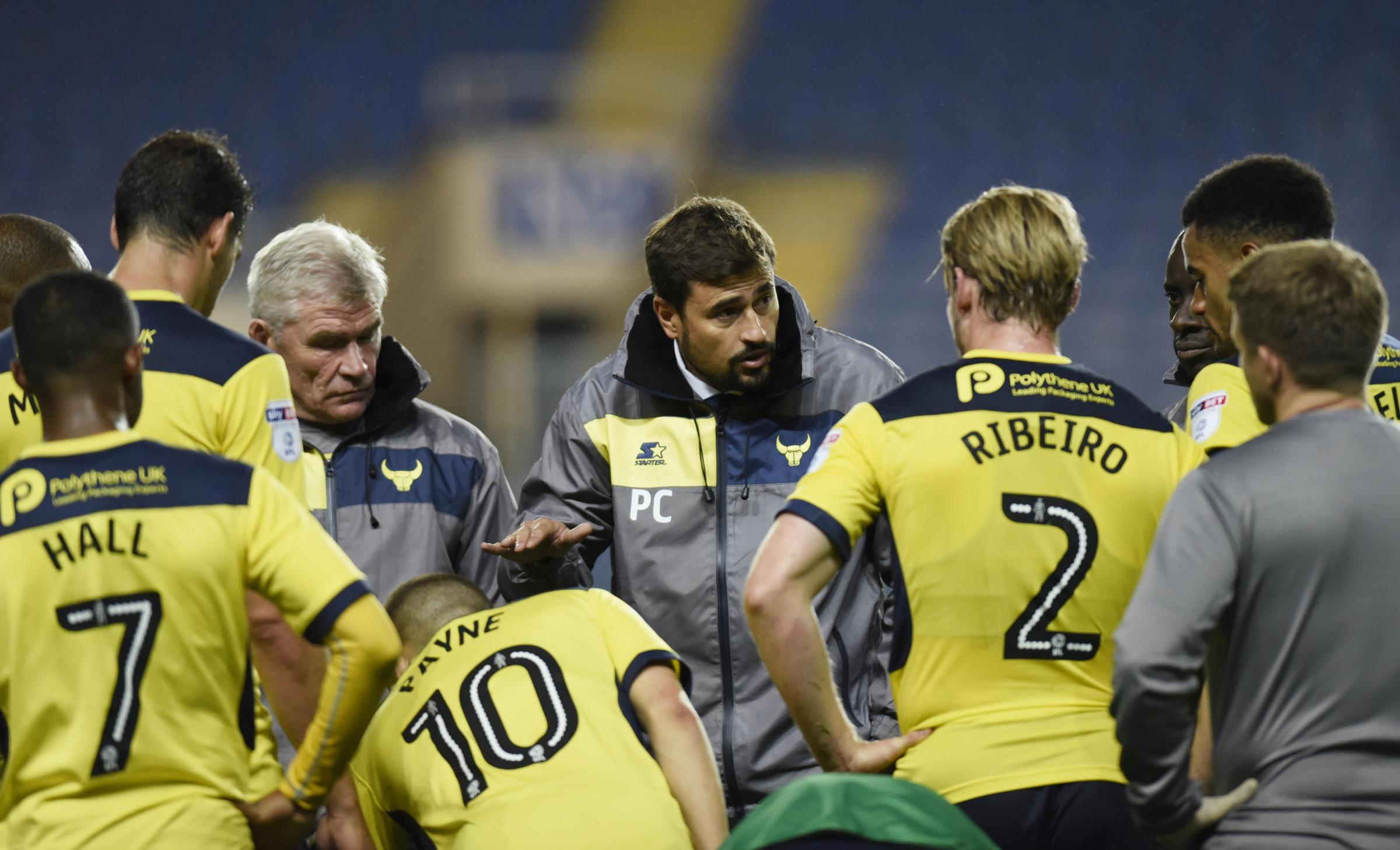 TEAM TALK: Pep Clotet address the Oxford United players before extra-time in last season's first round Carabao Cup defeat to Cheltenham Town