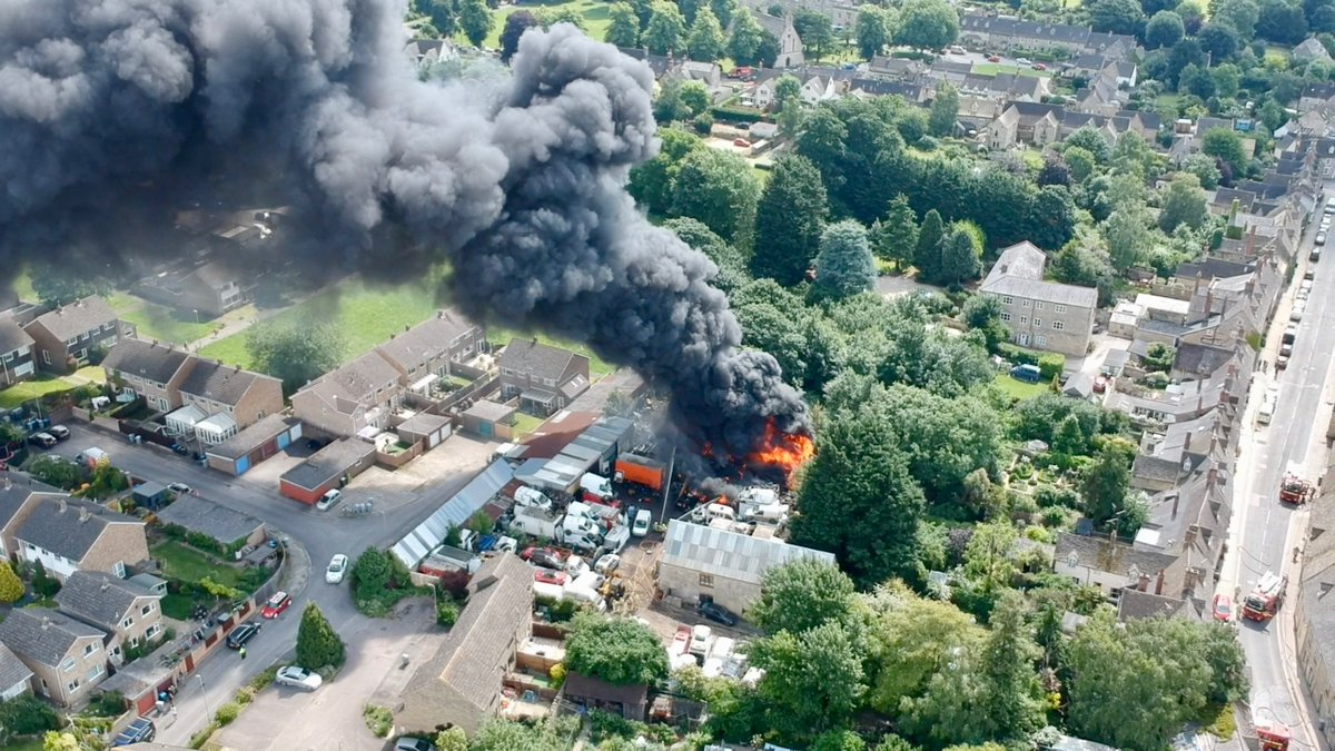 A dramatic aerial view of the Witney fire. Pic: Ed Hicks