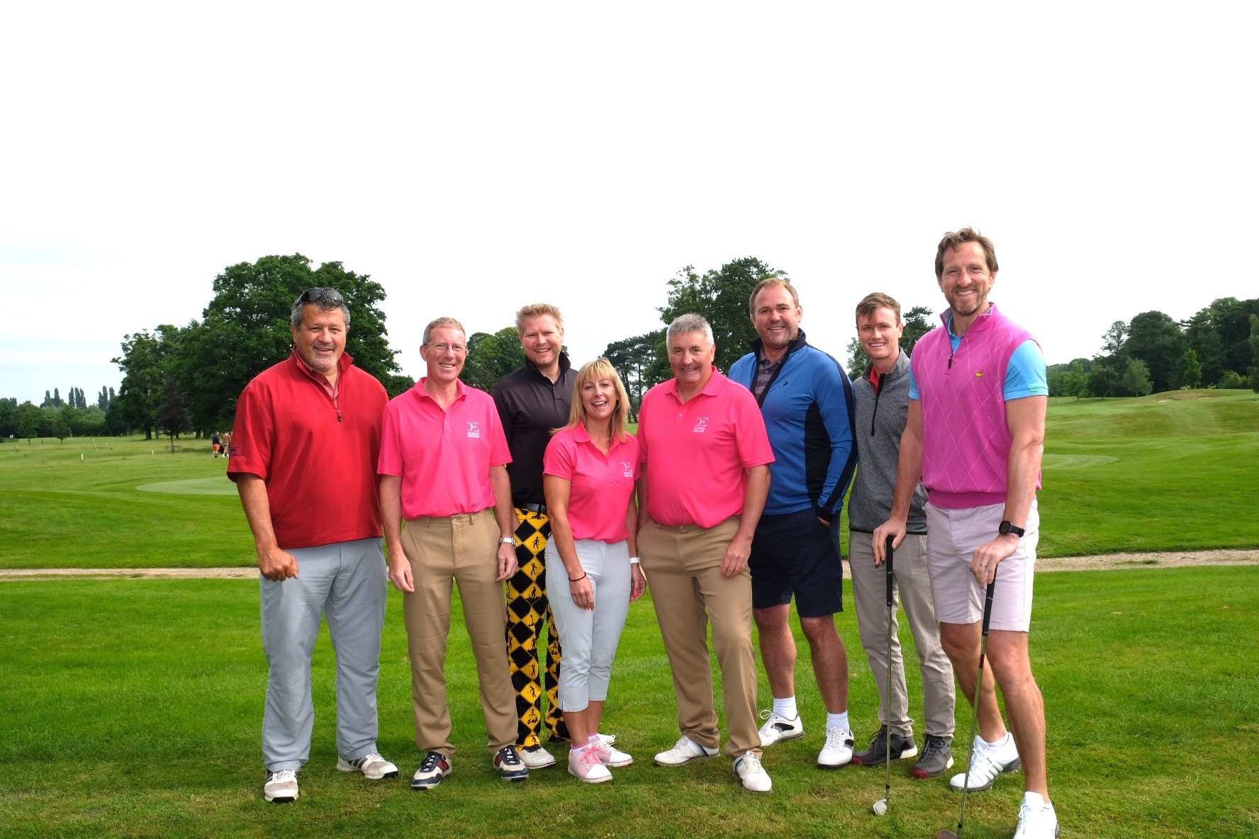 Participants at The Springs Golf Club's charity included (from left): Zinzan Brooke, James Penney (Darwin), Matthew Hoggard, Lindsey Esse (Darwin), Anthony Esse (Darwin), Scott Quinnell, Nick Gubbins and Will Greenwood