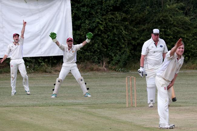 NOT OUT: Ranulph Leigh-Pemberton survives an lbw appeal as he tries to pile on the runs at the end of Uffington's innings in their away game at Ducklington Picture: Ric Mellis