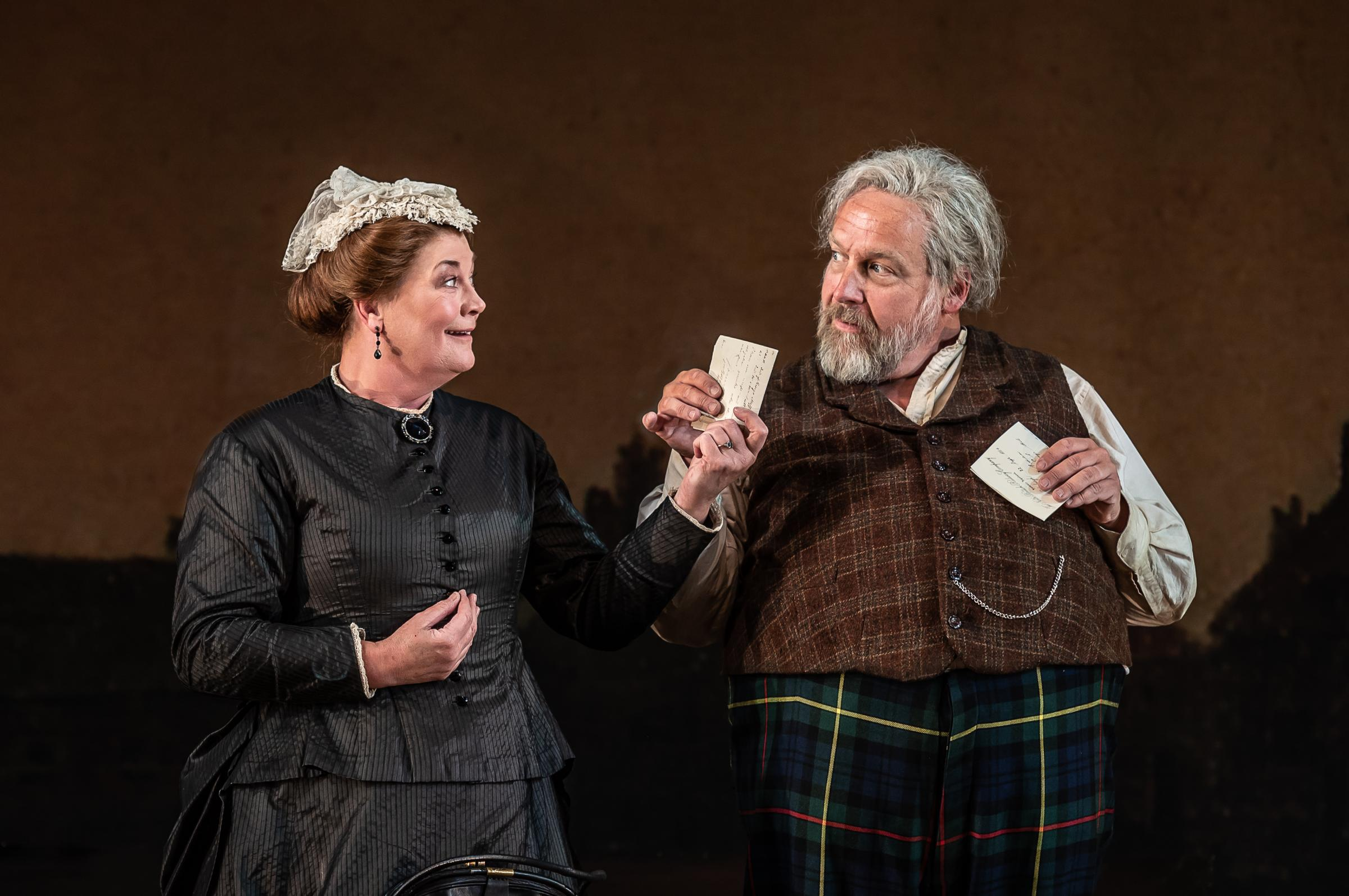 Henry Waddington as Sir John Falstaff and Yvonne Howard as Mistress Quickly                                                                 Picture: Clive Barda
