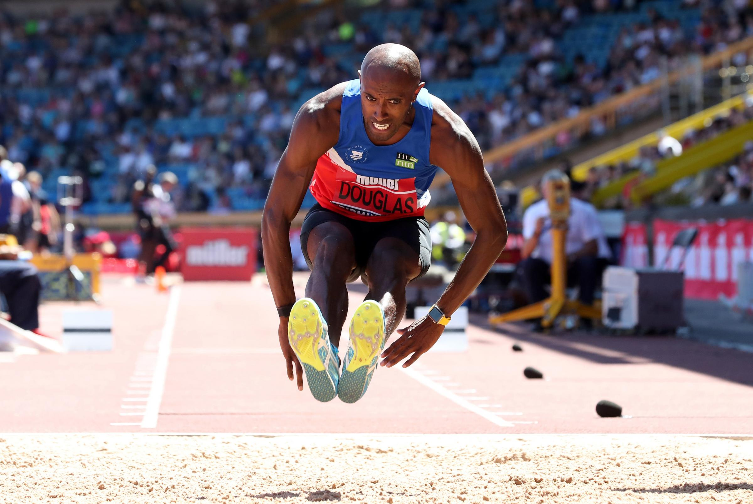 CONFIDENT: Nathan Douglas on the way to victory at the British Championships in June. The triple jumper is now aiming to impress on a bigger stage and challenge for a European medal         Picture: Martin Rickett/PA Wire