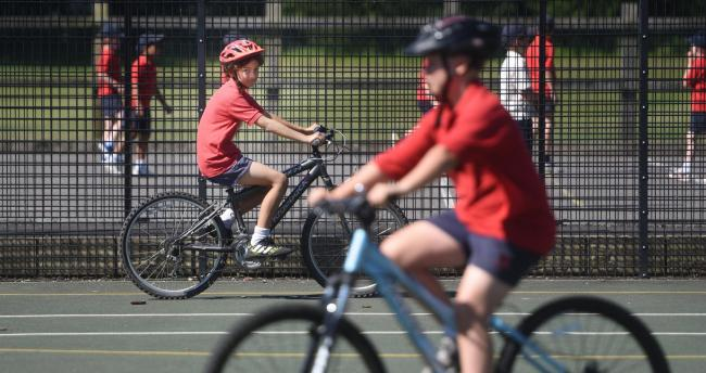 Chandlings School Year 6 concentrating on their manoeuvres during their cycling training