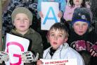 Ardley with Fewcott Kids Action Group (Afkag) has been reformed by Jacob Cherrington, 11, front, to fight incinerator plans