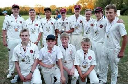 CHAMPIONS: Minster Lovell Under 15s with their medals after taking the Oxfordshire title
