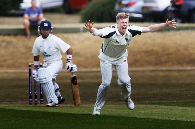 MIXED EMOTIONS: A worried Oxfordshire opener Richard Kaufman watches on as animated Dorset bowler Josh McCoy successfully appeals for lbw during his side's second innings of the Western Division clash at Banbury Picture: Ed Nix