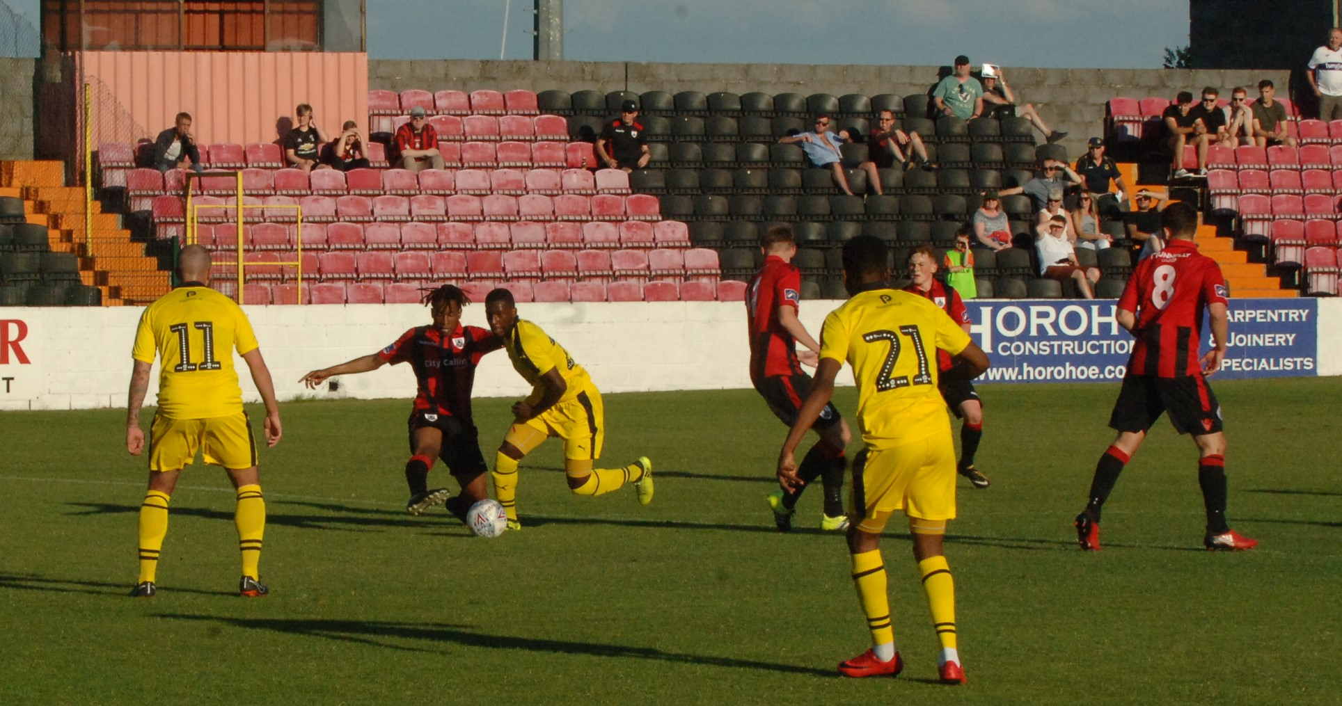 Shandon Baptiste drives into the penalty area for Oxford United in the first half