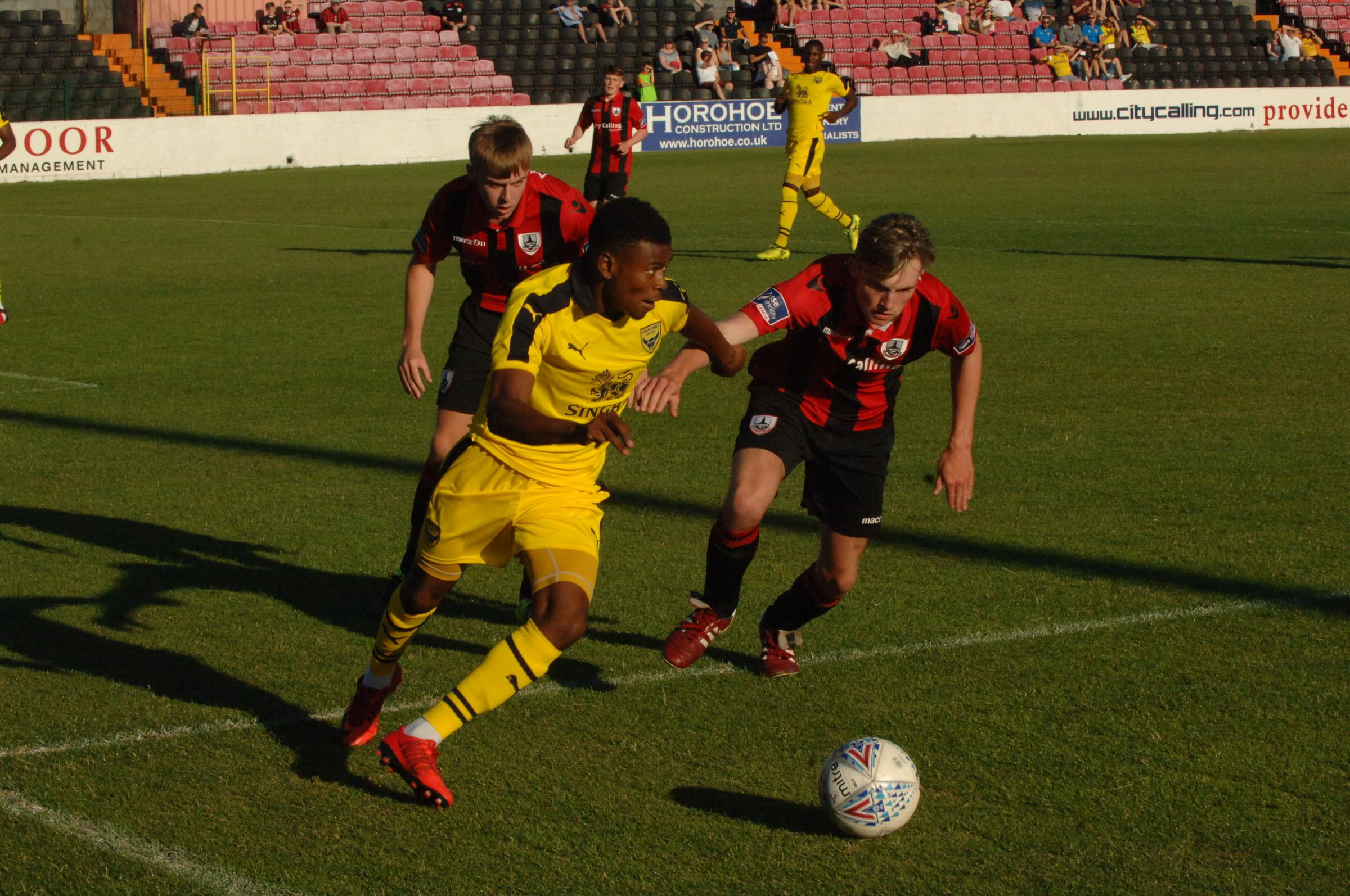 IMPRESSED: Malachi Napa on the ball for Oxford United against Longford Town Picture: David Pritchard