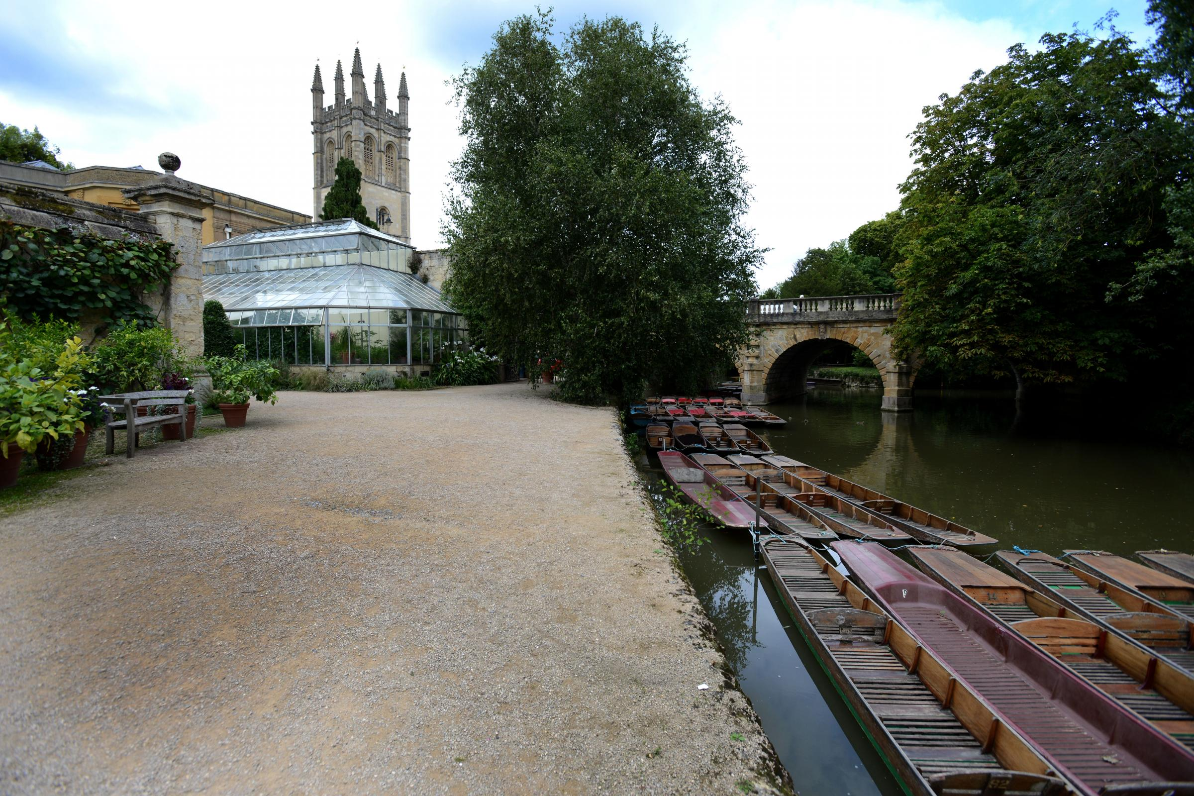 The Thames riverside pathway at Oxford University Botanic Gardens with Magdalen Bridge in the background. Picture: Richard Cave